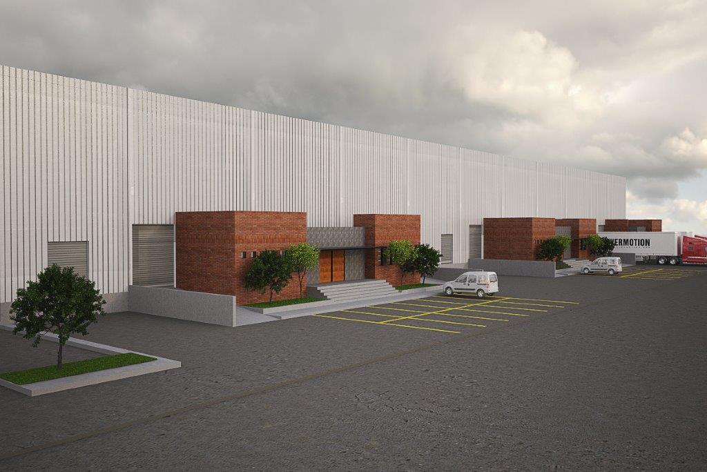 render lateral naves industriales y bodegas industriales con estacionamiento