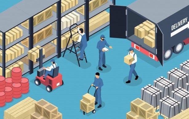 ilustración de interior de bodega industrial